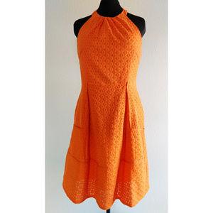 Orange Eyelet Summer Dress
